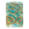 Turquoise and Aventurina Swirl 24kt Gold Foil Focal Rectangle 30x20mm Murano Glass Bead