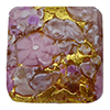 Pink Basilica Murrine, over 24kt Gold Foil Square 20mm Murano Glass Bead