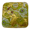 Green Basilica Murrine, over 24kt Gold Foil Square 20mm Murano Glass Bead