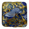 Blue Basilica Murrine, over 24kt Gold Foil Square 20mm Murano Glass Bead