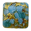 Aqua Basilica Murrine, over 24kt Gold Foil Square 20mm Murano Glass Bead
