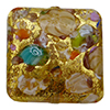 Multi Colors Basilica Murrine, over 24kt Gold Foil Square 20mm Murano Glass Bead