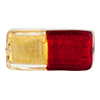 Murano Glass Bead Clear &Red Bicolor Crystal Rectangle 30mm