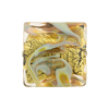 Caledonia Square 20mm Gold Aventurina Celadon Murano Glass Bead