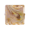 Calcedonia Viola and Gold Foil Murano Glass Square 23mm