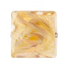 Calcedonia White and Gold Foil Murano Glass Square 23mm