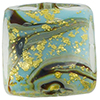 Calcedonia Turquoise and Gold Foil Murano Glass Square 13mm with Aventurina