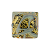 Black and 24kt Gold Foil, Oro Rotto Calcedonia, 18mm Square, Murano Glass Bead