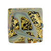 Black and 24kt Gold Foil, Oro Rotto Calcedonia, 24mm Square, Murano Glass Bead