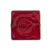 Murano Glass Bead Carmello Square 20mm White Heart Ruby