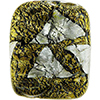 Ca'd'oro Large Gold/Silver Rectangle, Murano Glass Bead