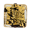 Black 24kt Gold Foil Ca'd'oro Squares 10mm Murano Glass Beads