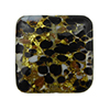 Black and White Cluseau over 24kt Gold Foil and Crystal Square 15mm Murano Glass Bead