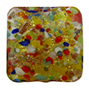 Multi Cluseau over 24kt Gold Foil and Crystal Square 15mm Murano Glass Bead