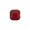 Red 24kt Gold Foil Beveled Square 12mm, Venetian Glass Bead