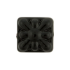 Venetian Glass Bead Square Starburst 18mm Opaque Black
