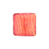 Rubino, Pink 24kt Gold Foil Curved Square Venetian Glass Bead