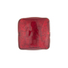 Ruby Red 24kt Gold Foil Curved Square Murano Glass Bead