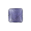 Plum, Purple White Gold Foil Curved Square, Murano Glass Bead