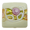 Cream Fiorato Vela Square with Roses and White Piping, 13mm