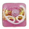Pink Fiorato Vela Square with Roses and White Piping, 13mm Murano Glass Bead