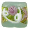 Pale Green Fiorato Vela Square with Roses and White Piping, 13mm