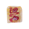 Murano Glass Square Bead Pink Fern Patterned 20mm