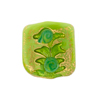 Murano Glass Square Bead Green Fern Patterned 20mm