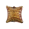 Red/Gold Foil Filigrana Stripes Pillow Black Base 20mm Murano Glass Bead