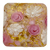 Pink Roses with White Lace Murrine, over 24kt Gold Foil Square 15mm