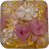 Pink Roses with White Lace Murrine, over 24kt Gold Foil Square 20mm