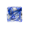 Blue and Blue Aventurina Silver Foil Galaxy, 18mm Square, Murano Glass Bead