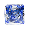 Blue and Blue Aventurina Silver Foil Galaxy, 24mm Square, Murano Glass Bead