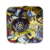 KLIMT Square Multi Mosaics with Black Base & Exterior 24kt Gold Foil Square 15mm Murano Glass Bead