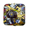 KLIMT Square Multi Mosaics with Black Base & Exterior 24kt Gold Foil Square 20x20mm Murano Glass Bead
