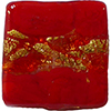 Venetian Glass Lace Bead Black Clear Base, Red Lace Murrine, Exterior 24kt Gold Foil Square 15mm