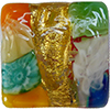 Venetian Glass Lace Bead Clear Base, Multi Lace Murrine, Exterior 24kt Gold Foil Square 15mm