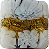 Venetian Glass Lace Bead Black Base, White Lace Murrine, Exterior 24kt Gold Foil Square 15mm