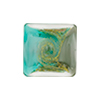 Sea Green and Gray with Aventurina and 24kt Gold Foil Mare Vela Square 18mm Murano Glass Bead