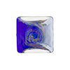 Blue and Cobalt with Aventurina and 24kt Gold Foil Mare Vela Square 18mm Murano Glass Bead