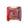 Pink and Purple with Aventurina and 24kt Gold Foil Mare Vela Square 18mm Murano Glass Bead