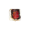 Murano Glass Bead Miro Wavy Square 14mm Multi Gold Foil