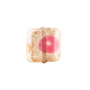 Murano Glass Bead Miro Wavy Square 14mm Pink Gold & Silver