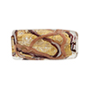 Murano Glass Bead Monet Rectangle 25x12 Gold Foil Black