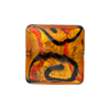 Red and Topaz 24kt Gold Foil Picasso, 18mm Square, Murano Glass Bead