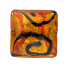 Red, Topaz 24kt Gold Foil Picasso, 24mm Square, Murano Glass Bead