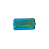 Murano Glass Bead 24kt Gold Foil Rectangle 16x8mm, Aqua