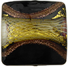 Reticello Square Opaque Black with Gold and White Reticello, 18mm Murano Glass Bead