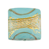Reticello Square Opaque Turquoise with Gold and White Reticello, 24mm