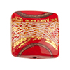 Reticello Square Red with Gold and White Reticello, 18mm Murano Glass Bead